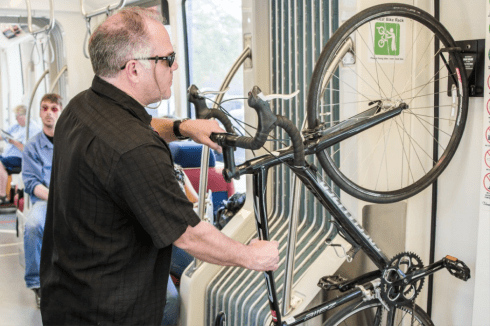 Vertical bike racks on Salt Lake City's TRAX buses