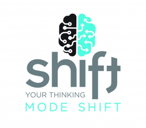 """A teal and black brain logo with the word """"Shift"""" in big gray letters with """"your thinking"""" in small letters below. """"Mode Shift"""" is at the bottom in teal."""