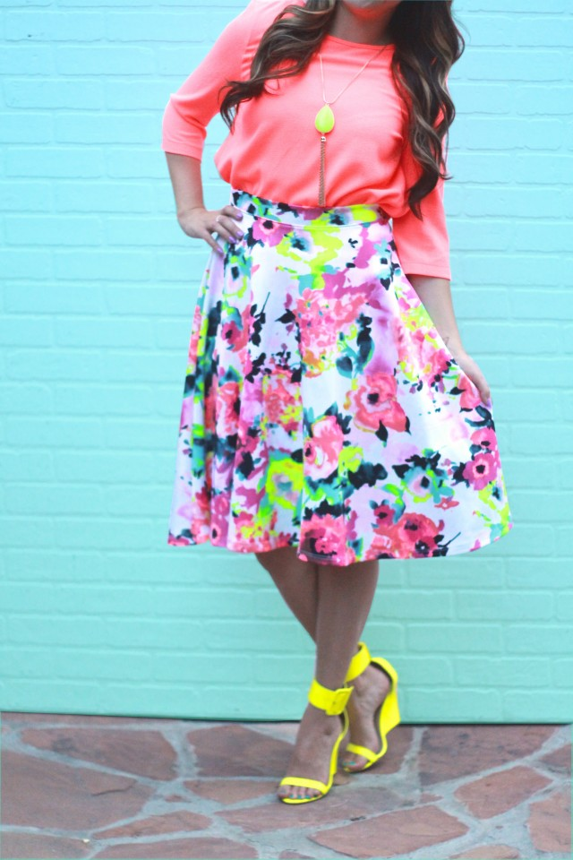 neon floral skirt 1