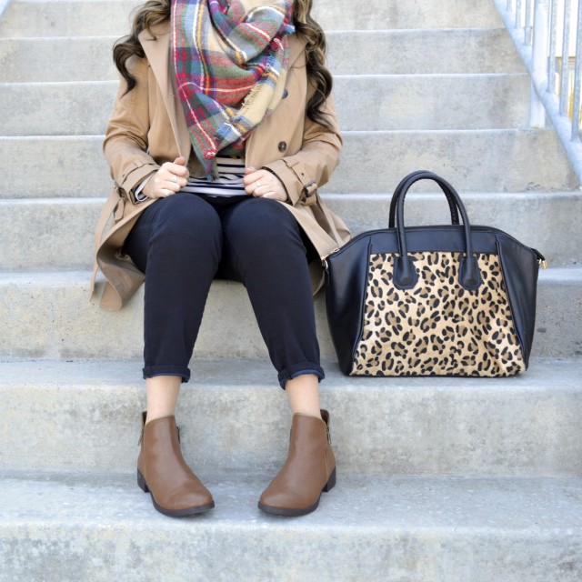 Love the pattern mixing- plaid, stripes and leopard!