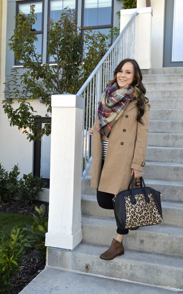 Trench coat, blanket scarf, and pattern mixing for the win! Fall fashion.
