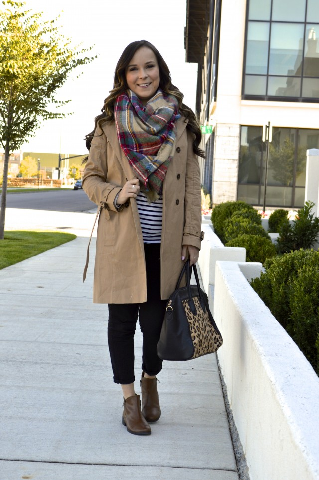 Fall fashion 101: Plaid scarf, trench coat, and pattern mixing!