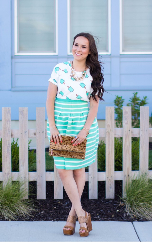 Mint Striped Skirt Neesees Dresses (7 of 27)
