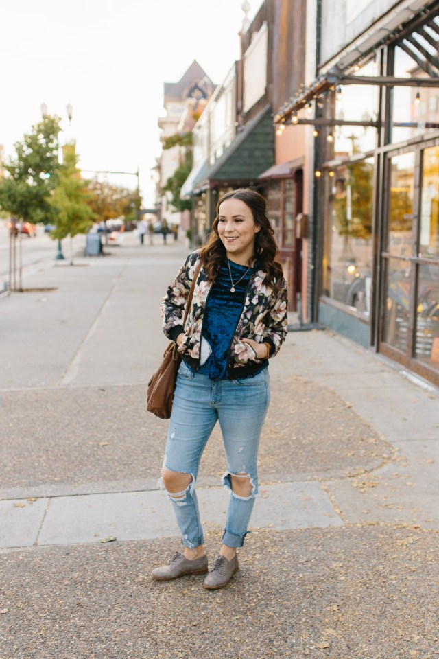 such a cute floral bomber jacket for fall!