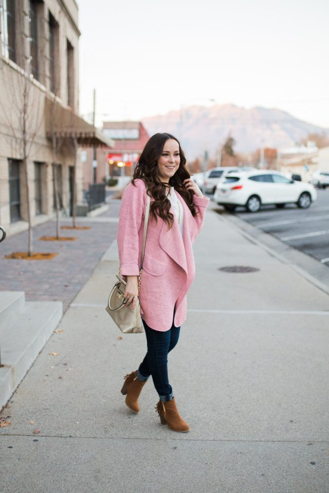 cutest pink waterfall cardigan!