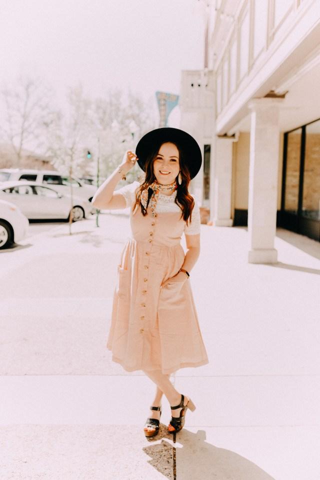 blush pink overall dress