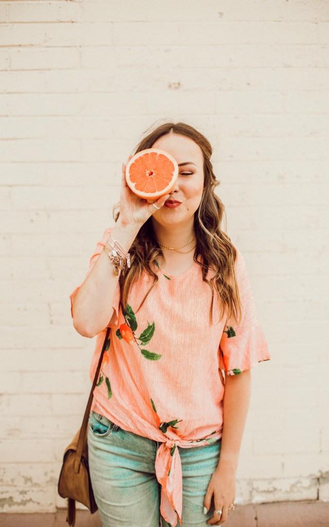Orange print tie front top