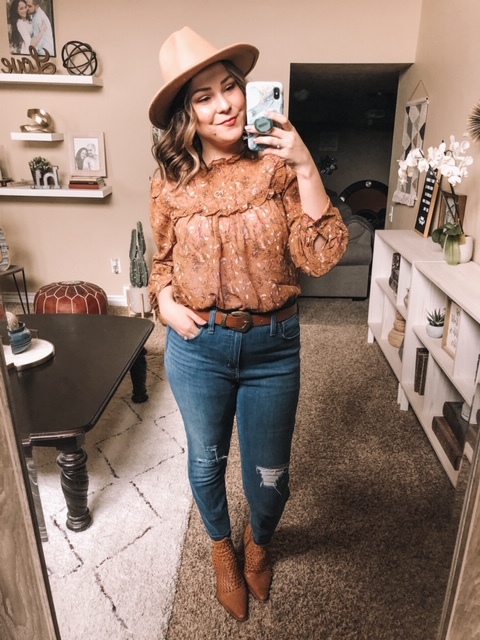Shein Review Try On Brown Floral Blouse