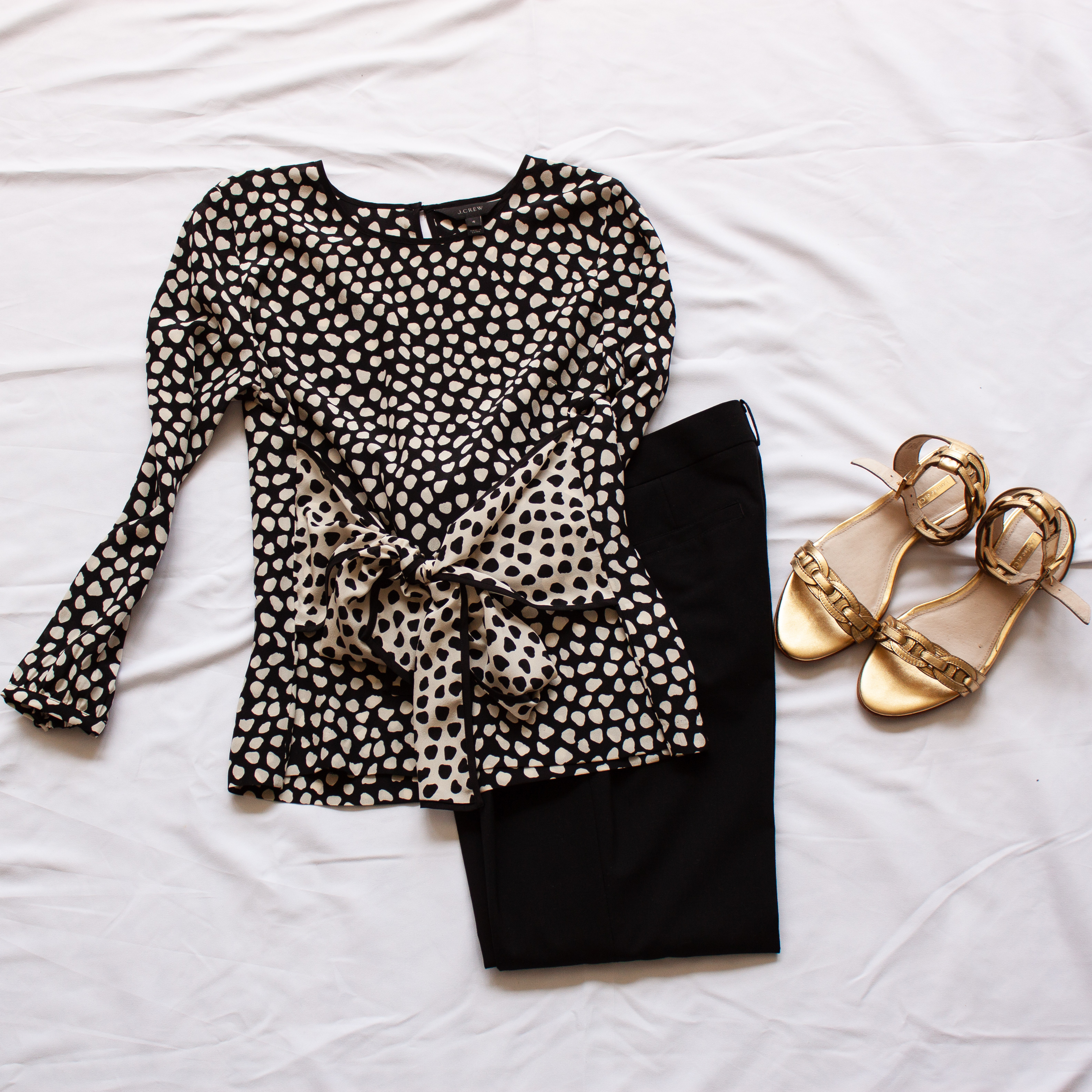 NYC bound theatre outfit polka dot top