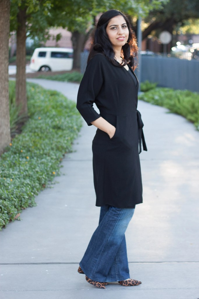 modest date night outfit wrap dress flare jeans leopard shoes