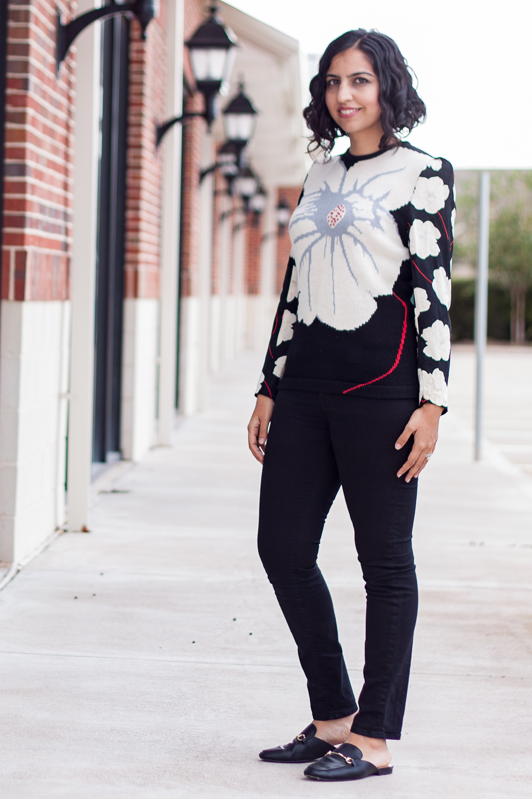 modest holiday party outfits graphic floral sweater