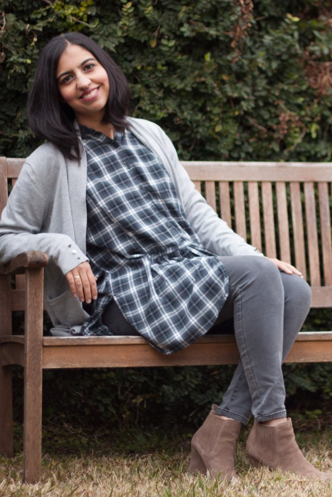 modest winter fashion layered flannel tunic