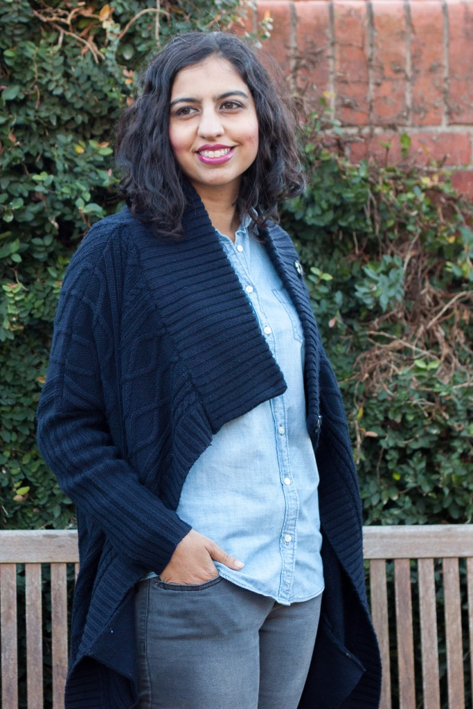 chambray shirt outfit ideas with a navy cardigan