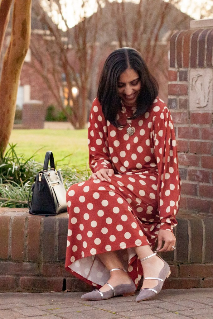 orange polka dot dress with gray robyn malone souliers