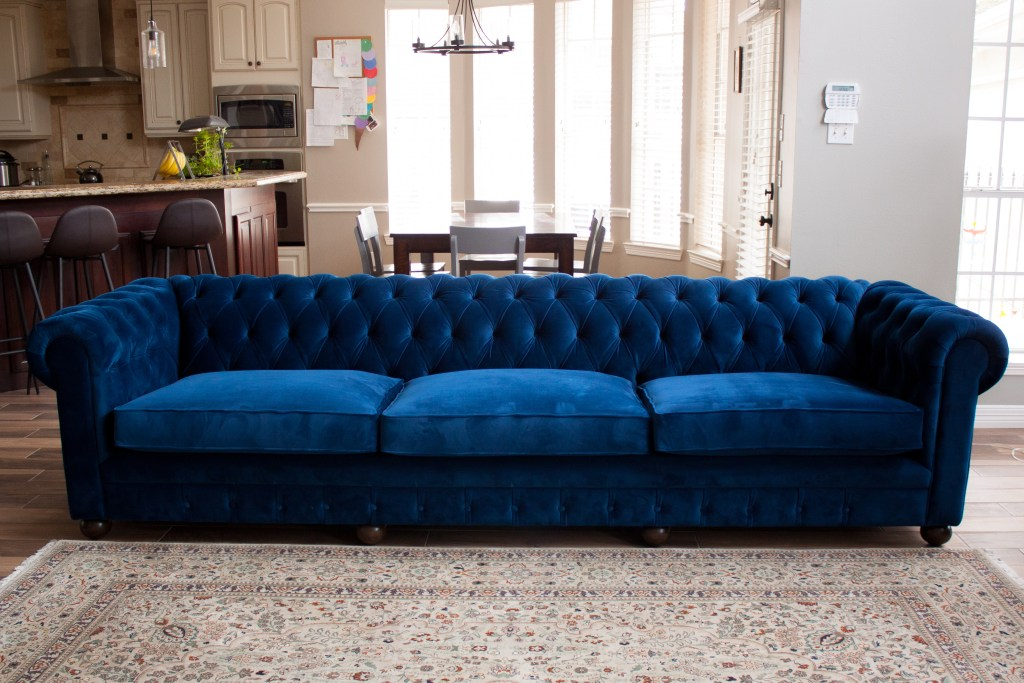 living room update blue couch