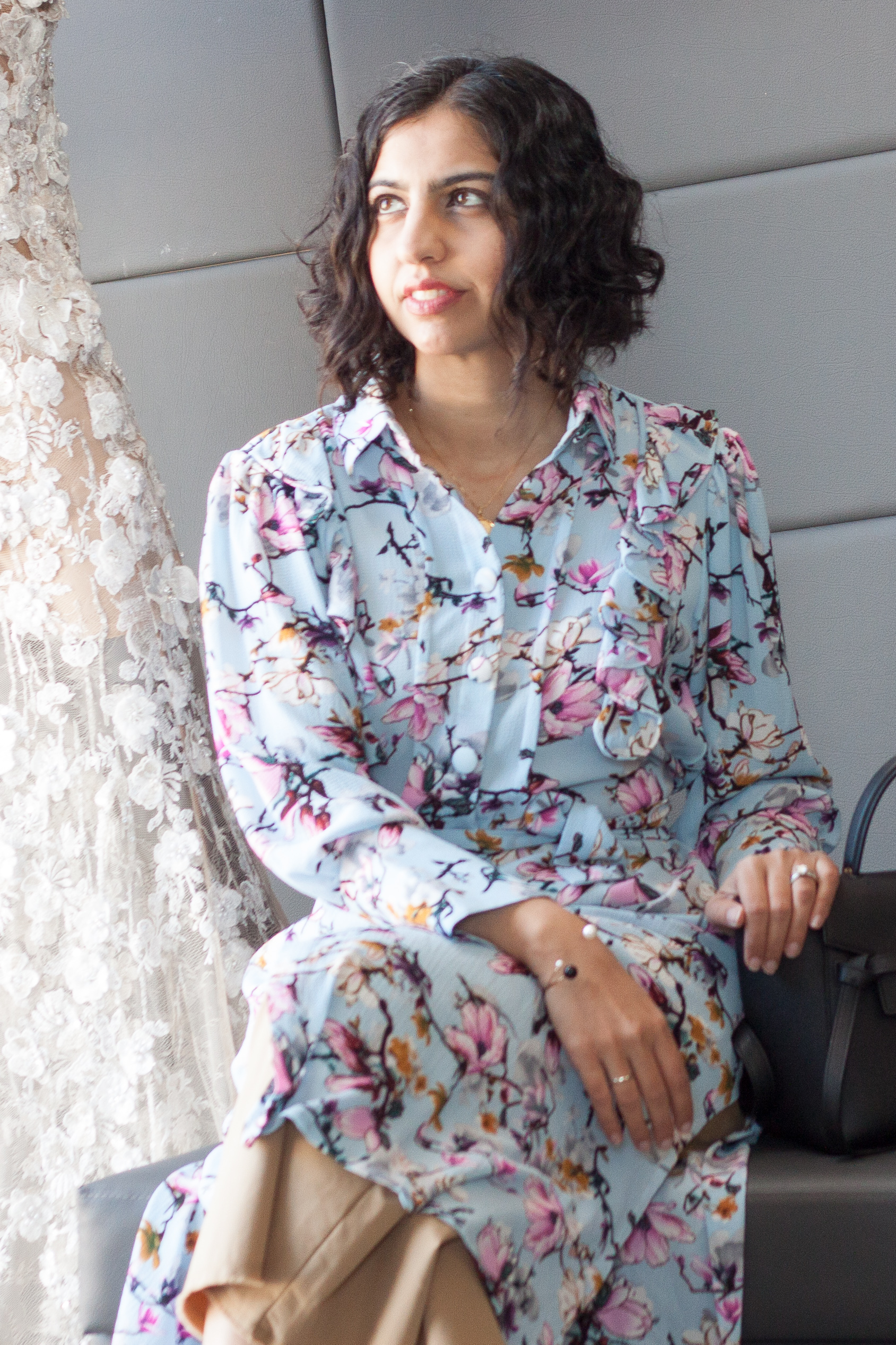 emaan qirat at the district floral shirtdress