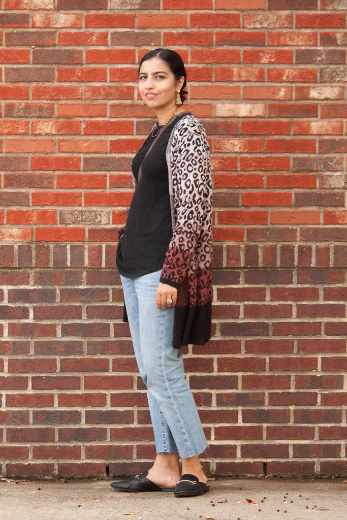 fall leopard print cardigan and jeans