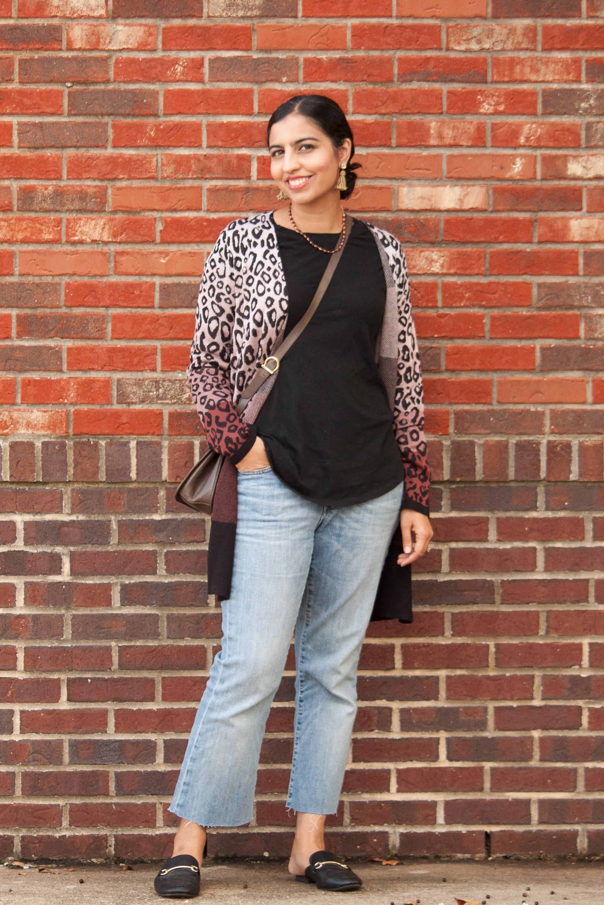 the perfect color for fall fashion leopard sweater