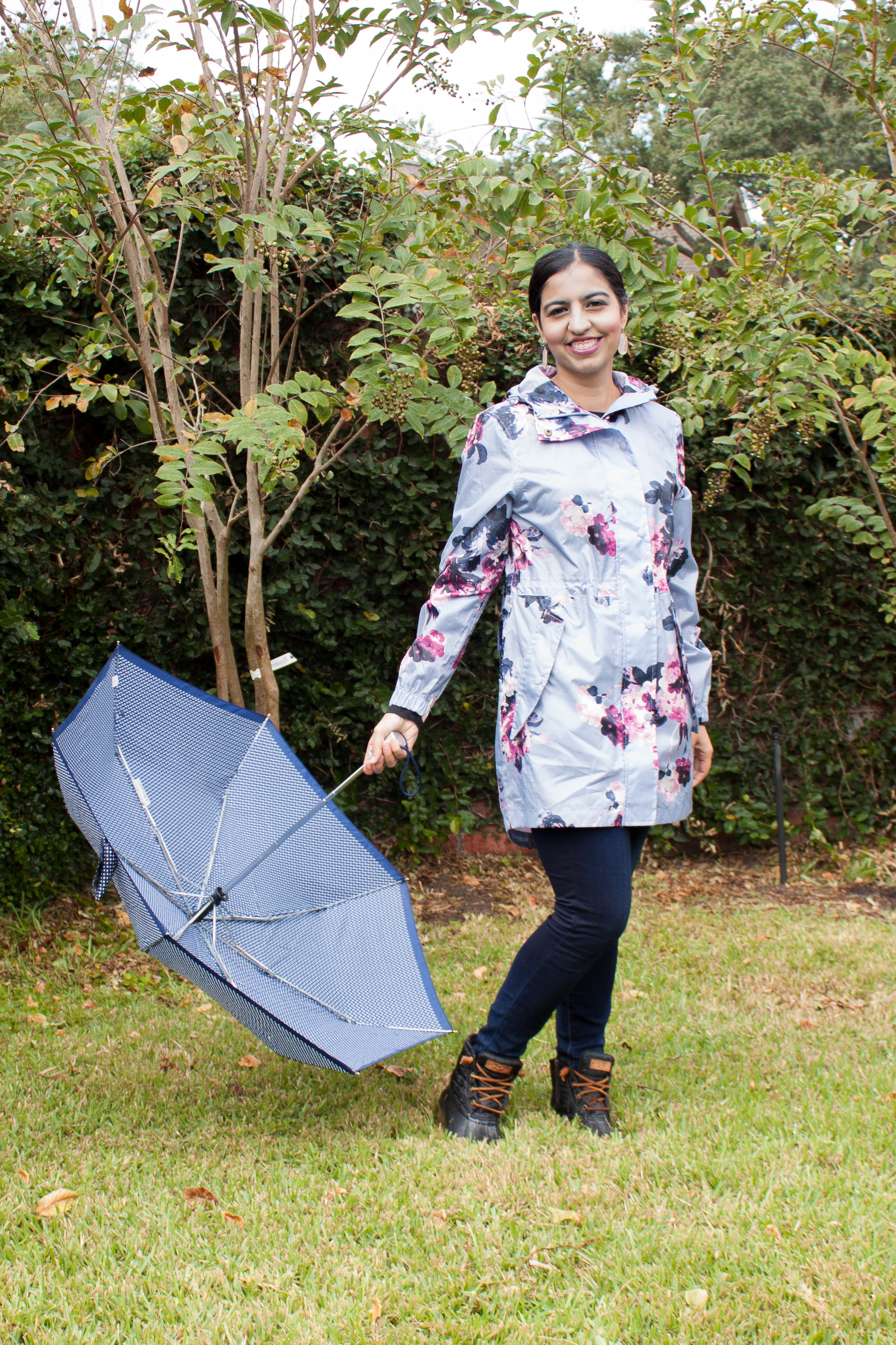 modest fall floral outfits floral raincoat