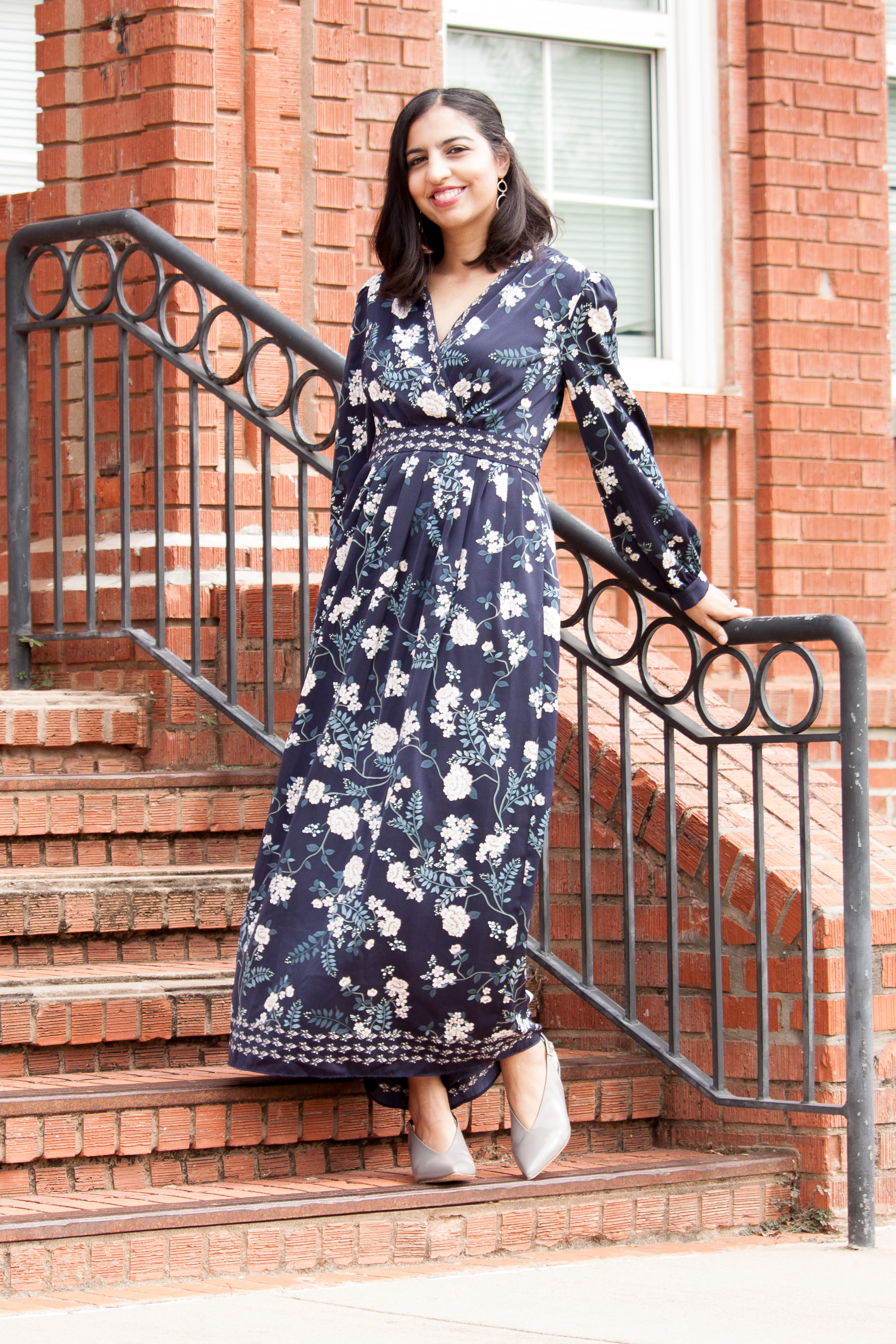 modest fall floral outfits floral maxi dress