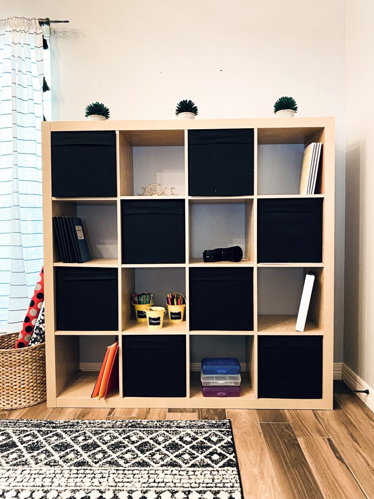 home office and study room IKEA storage shelves and bins