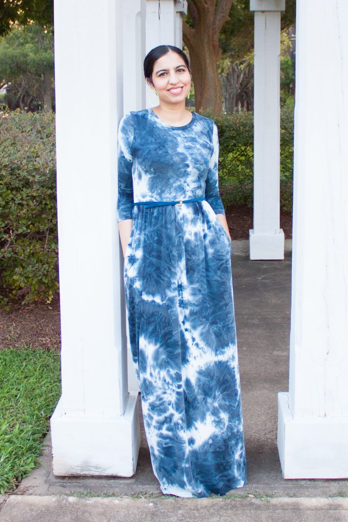 modest tie dye dress