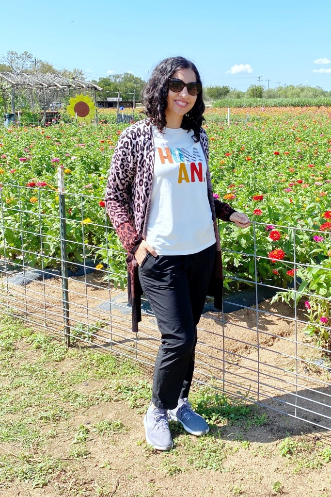 casual fall outfit ideas cheetah cardigan graphic t-shirt and athletic pants