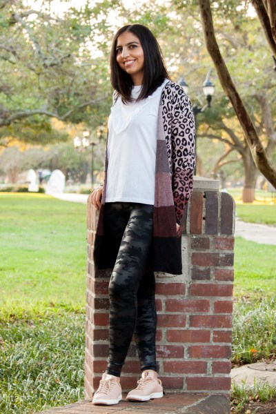 how to style Spanx camo leggings with leopard cardigan