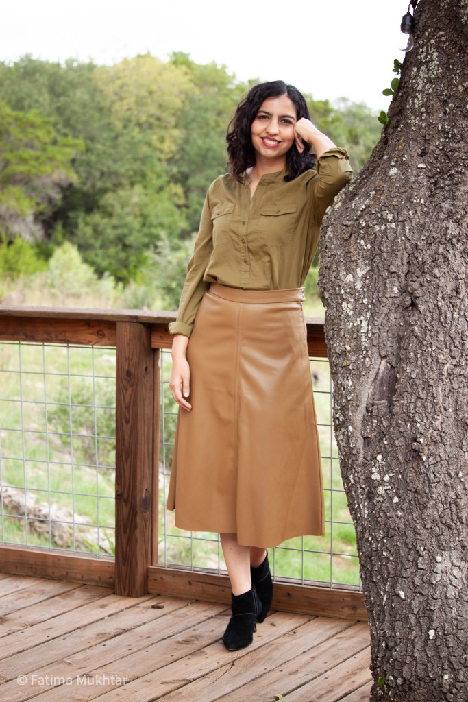 my favorite fall midi skirts camel faux leather