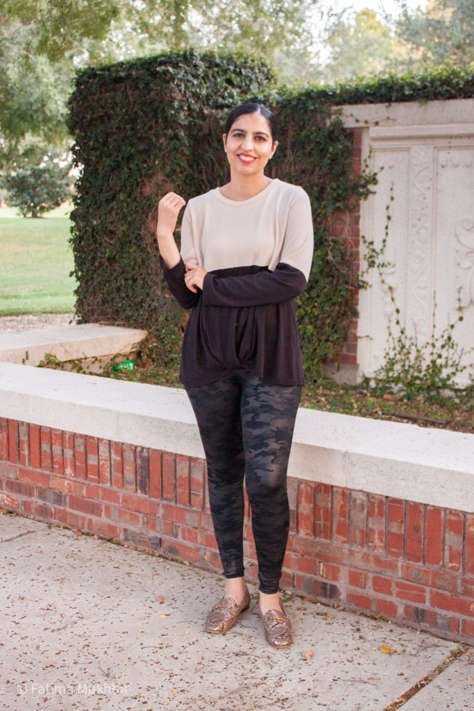 how to style spanx camo leggings with color block sweater