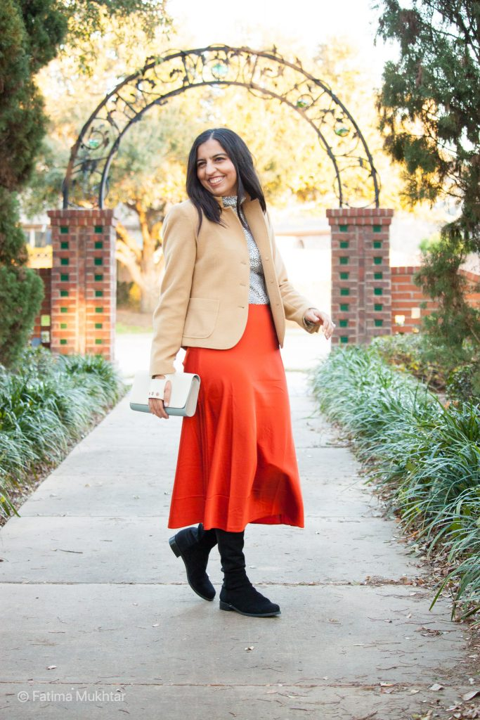 modest OTK boots outfit idea midi skirt and black boots