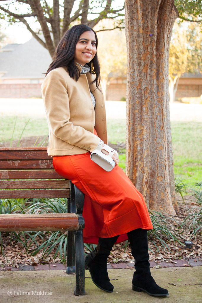 over the knee boots outfit camel coat, orange midi skirt