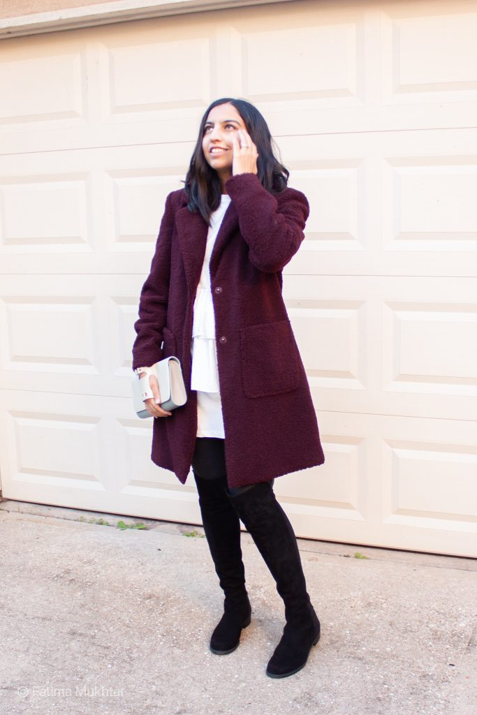 maroon teddy coat, white ruffle dress, spanx faux leather leggings, black suede over the knee boots