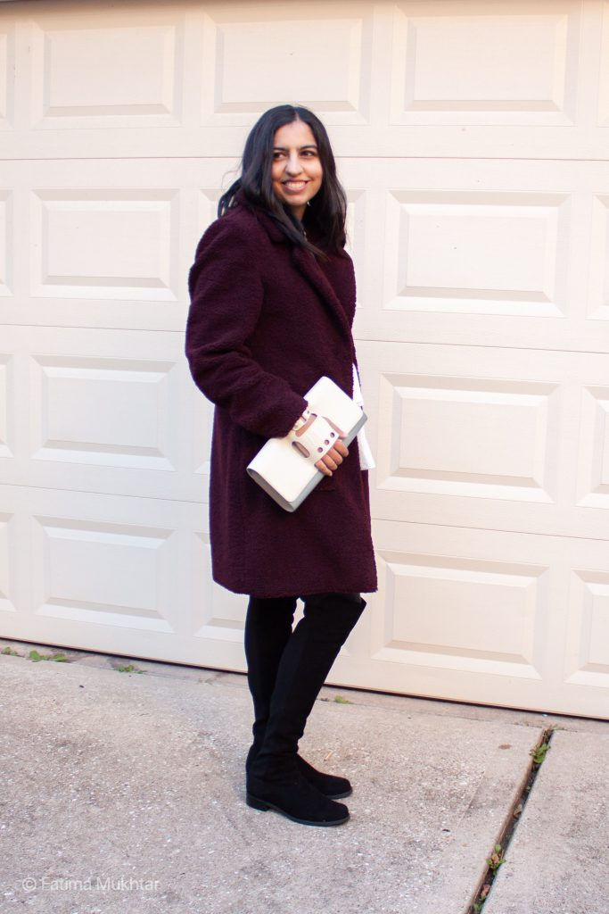 modest OTK outfit idea teddy coat, leggings, and suede boots