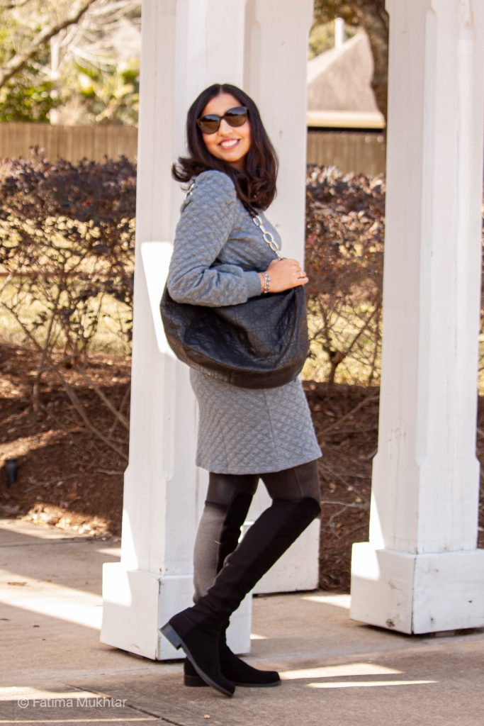cozy co-ord skirt set gray quilted sweatshirt and mini skirt and over the knee boots