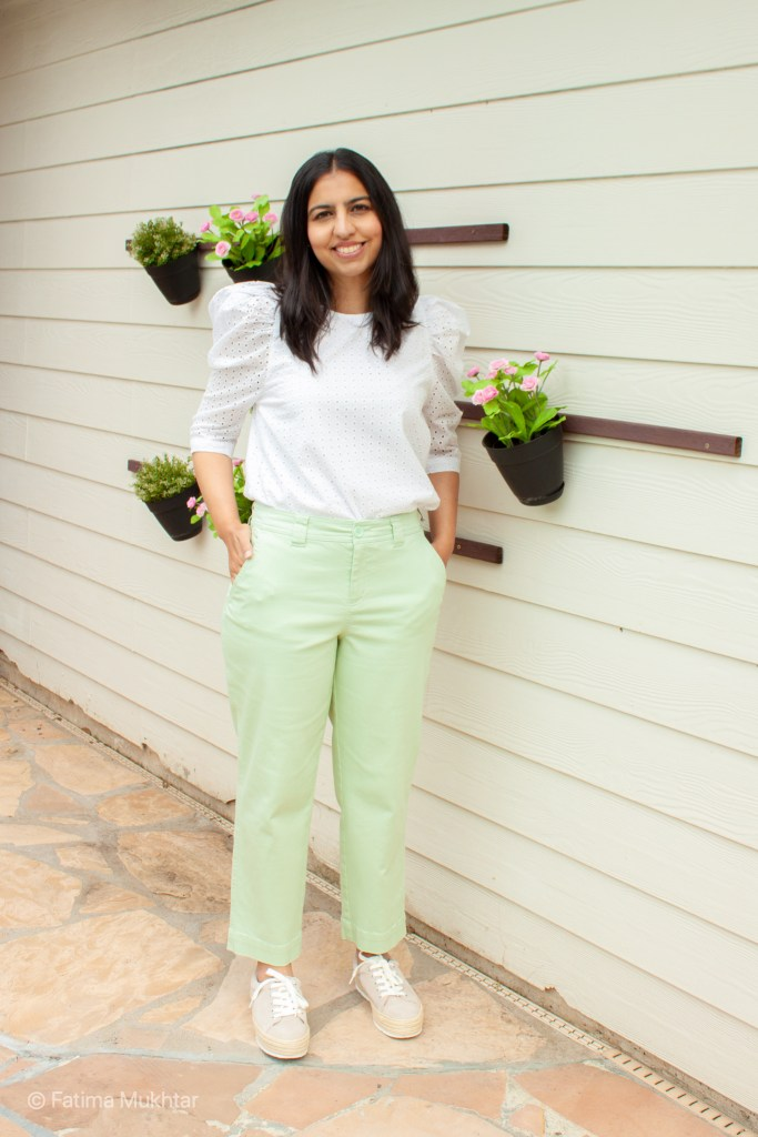 puff sleeve eyelet top and mint green cropped pants