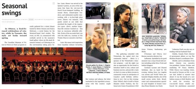 The Globe and Mail Feb 27 2016 Nolan Bryant Metro Ontario Dinner with Jessica Mulroney