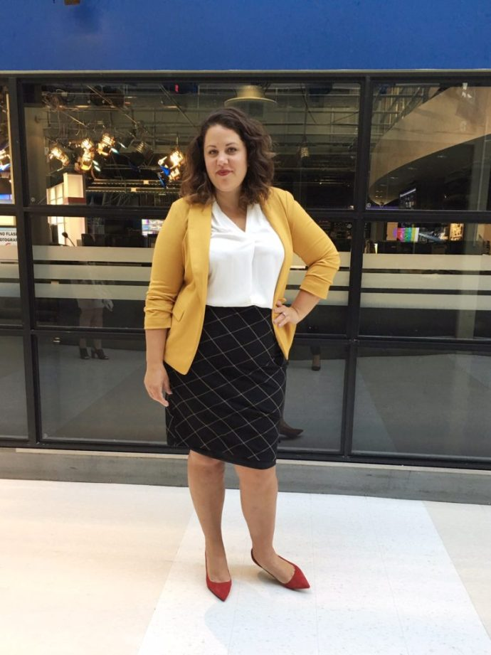 Ottawa Fashion Blog Le Chateau plus size shopping mustard blazer