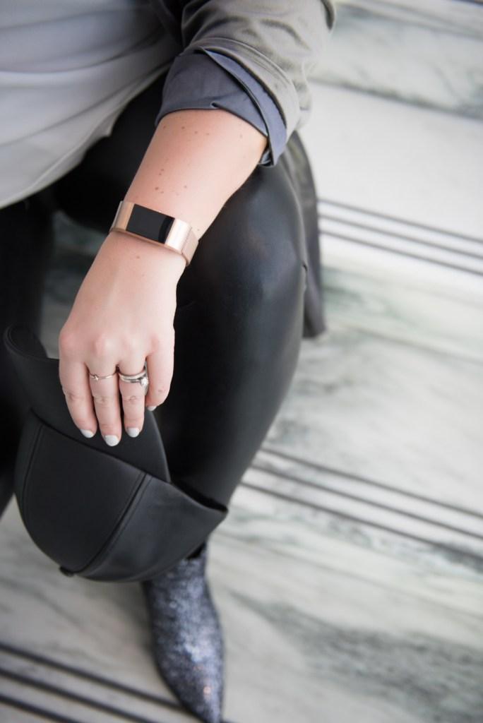 Ottawa Fashion Blogger Elvi Velvet Blazer Sparkle boots leather leggings
