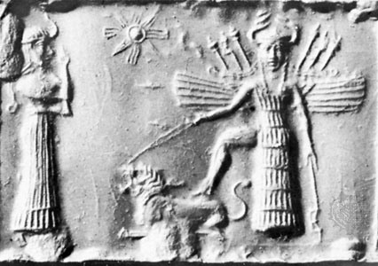 "Ishtar with her foot on a roaring lion and wearing a distinctive headdress resembling Madonna's horned crown. Ishtar is often depicted with wings, a feature that is recalled on Madonna's ""carriage""."