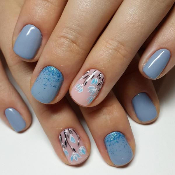 Голубой весенний маникюр с цветами — Modnail.ru — Красивый ...