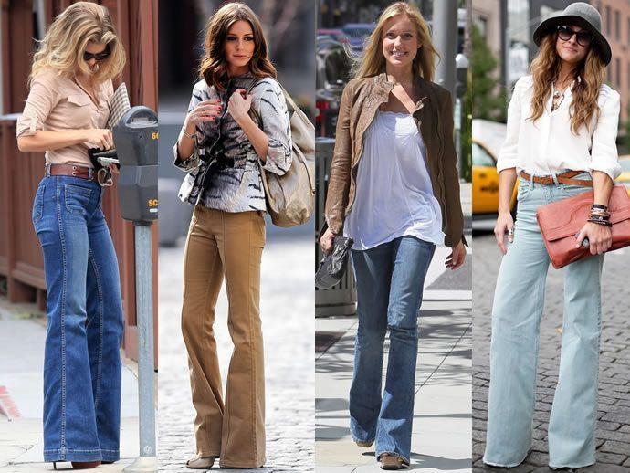 С чем носить джинсы клеш фото