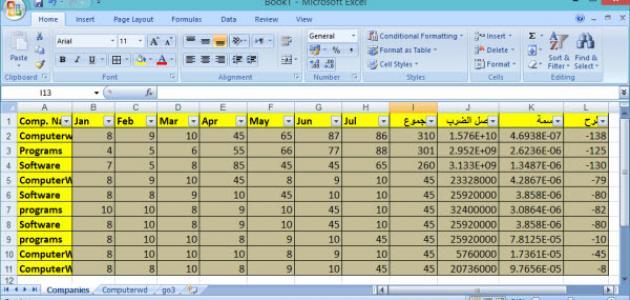كيفية العمل على برنامج Excel موضوع