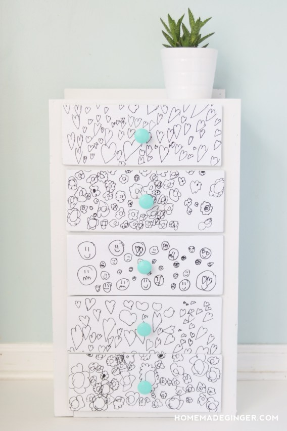 fun kids dresser with artwork