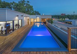 Modpool, modular swimming pools made from shipping containers. Modpool installed on a rooftop