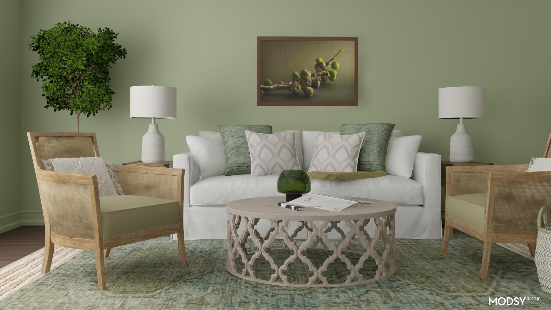 A Monochrome Green Living Room Traditional Classic Style Living Room Design Ideas