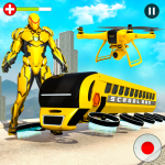 Flying School Bus Robot Hero Robot Games 27 APK MODs Unlimited money free Download on Android