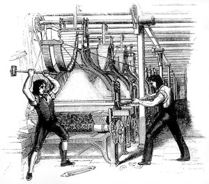 luddites protest automation by destroying machines