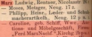Caroline Marx Schiffer, Salomon Marx, Jenny Marx, Paula Marx, Ludwig Marx, Judenhäuser Wiesbaden, Kaiser-Friedrich-Ring 43, Wiesbaden, Klaus Flick