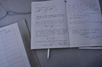 guest book near the end of the exhibition